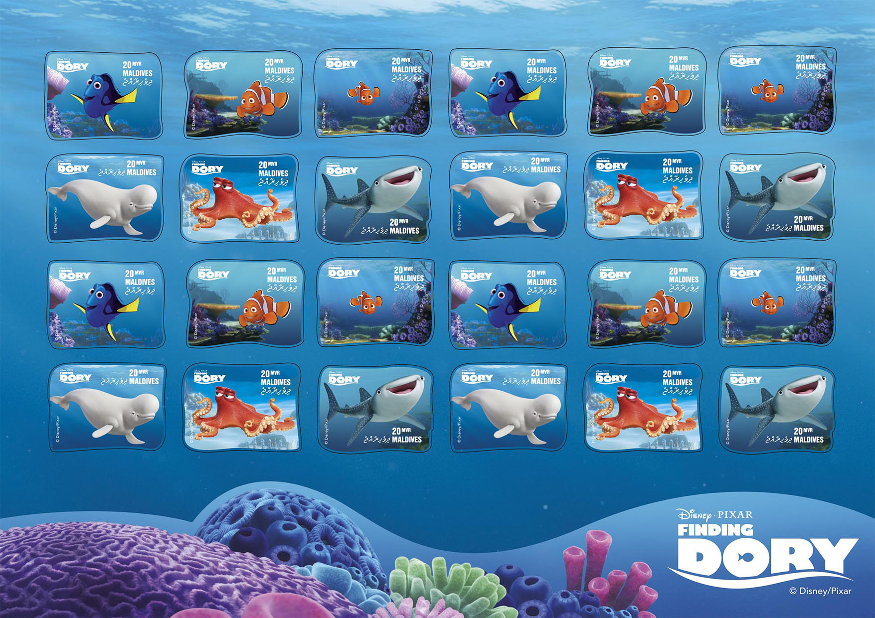 Finding Dory - Issue of Maldives postage stamps