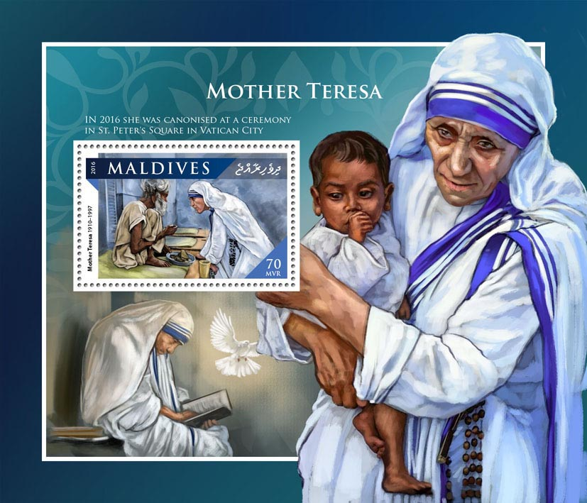 Mother Teresa - Issue of Maldives postage stamps