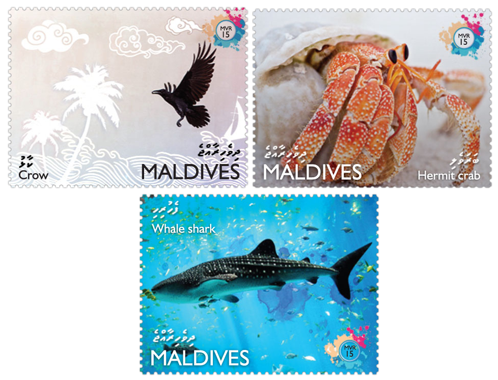 Fauna 3v - Issue of Maldives postage stamps