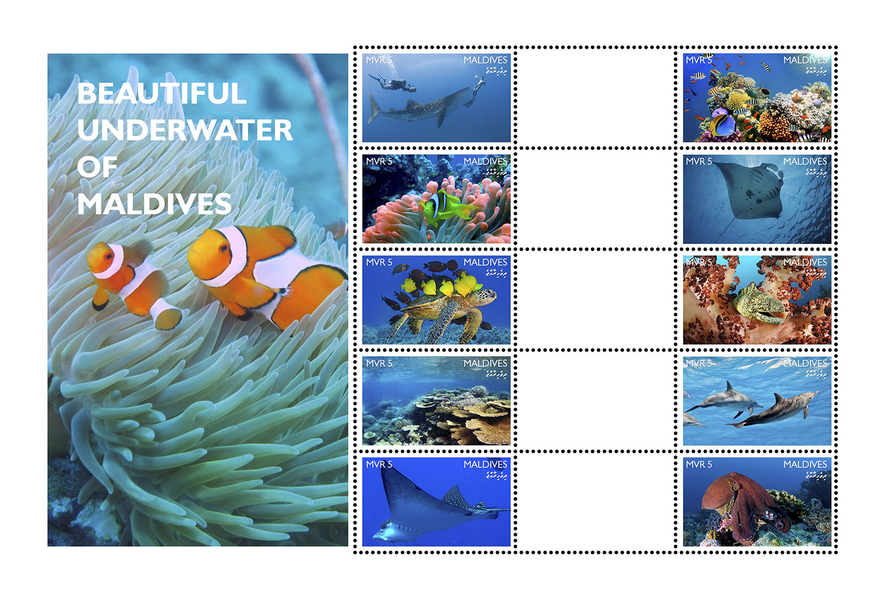 Beautiful Underwater of Maldives - Issue of Maldives postage stamps