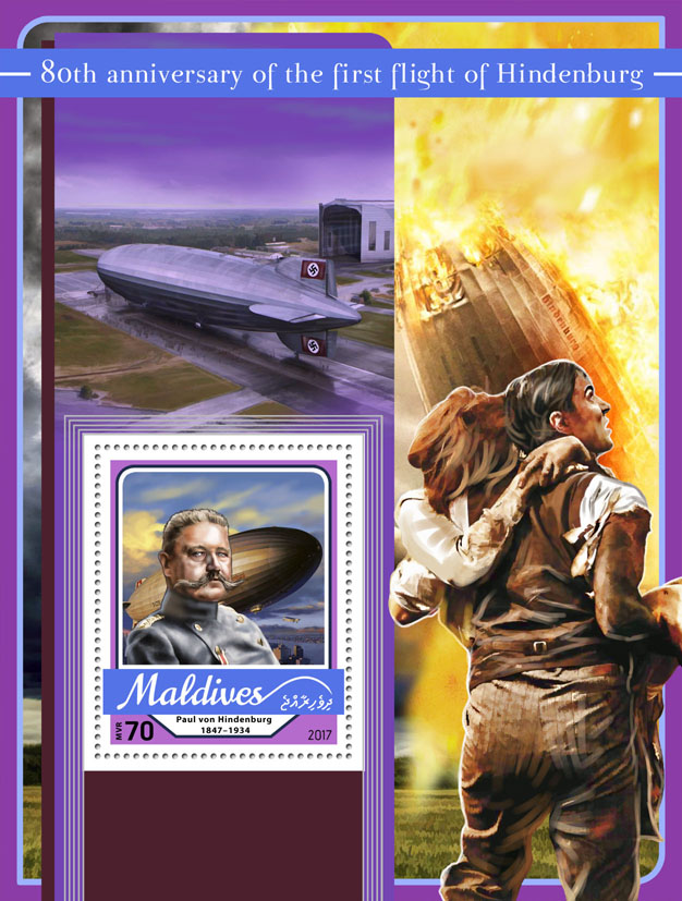 First flight of Hindenburg - Issue of Maldives postage stamps