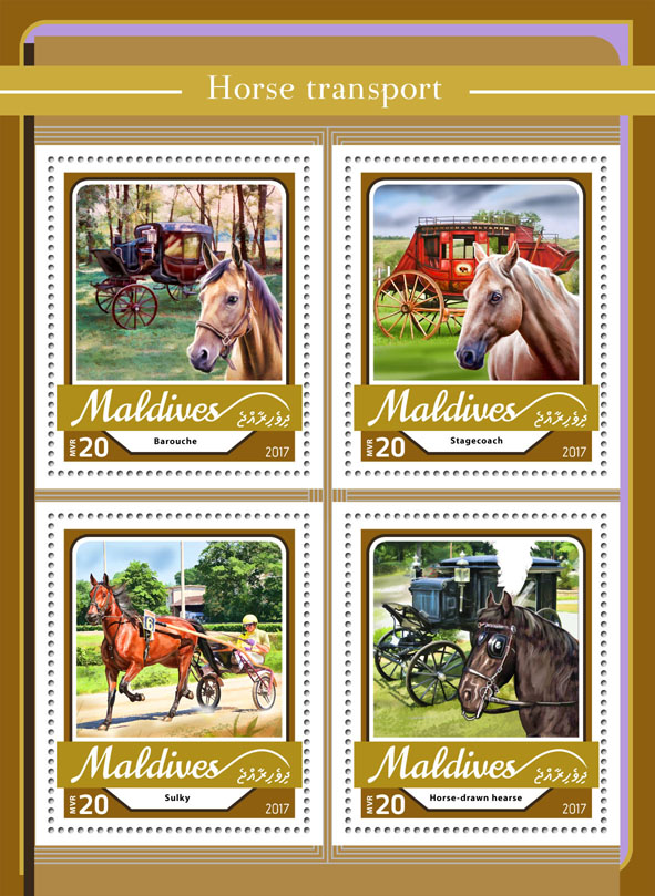 Horse transport - Issue of Maldives postage stamps
