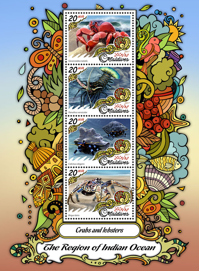 Crabs and lobsters - Issue of Maldives postage stamps
