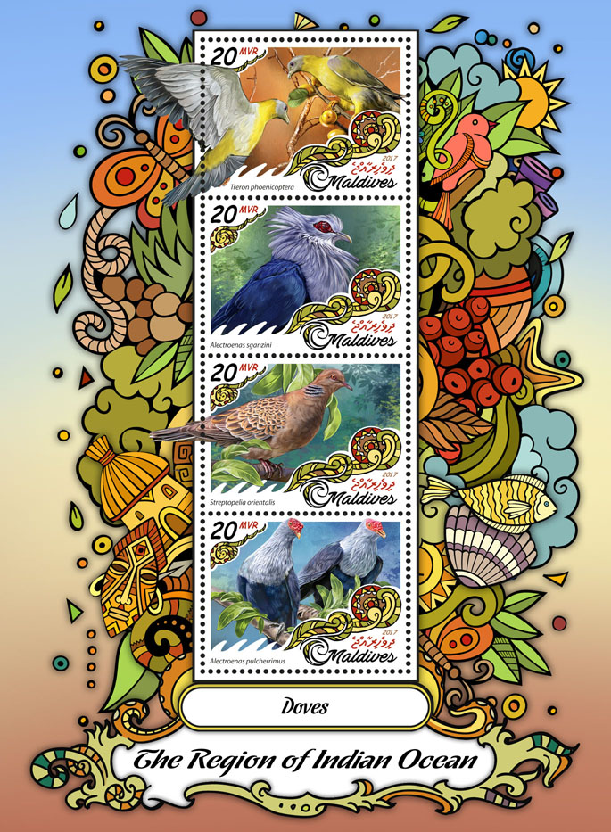 Doves - Issue of Maldives postage stamps