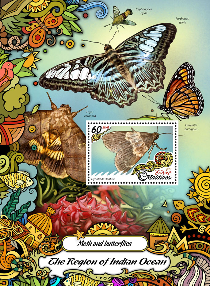 Moth and butterflies - Issue of Maldives postage stamps