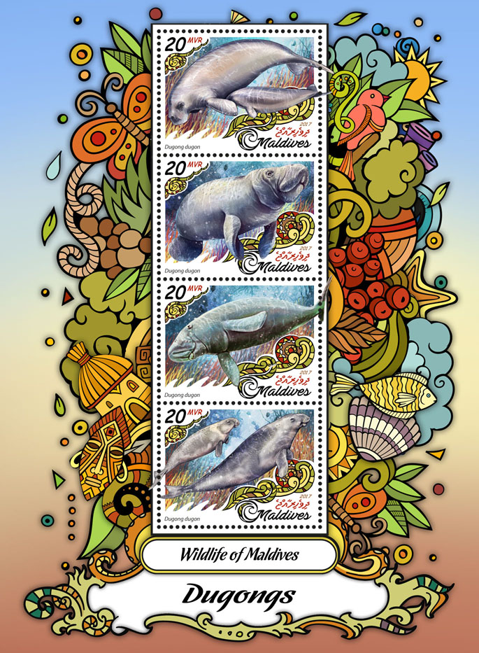 Dugongs - Issue of Maldives postage stamps