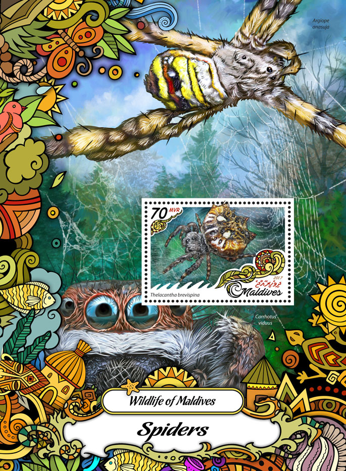 Spiders - Issue of Maldives postage stamps