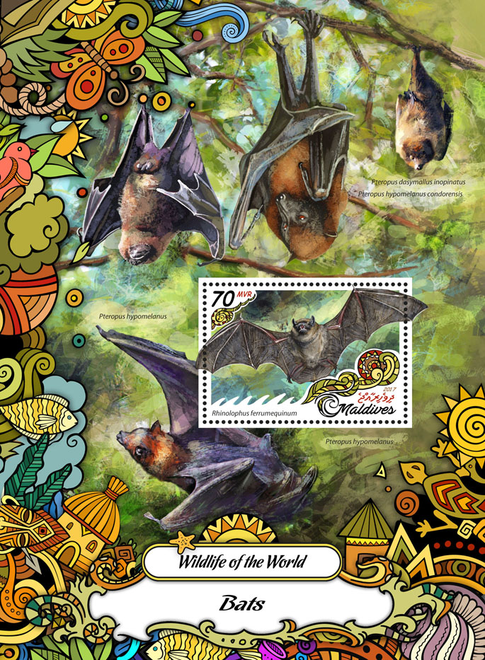 Bats - Issue of Maldives postage stamps