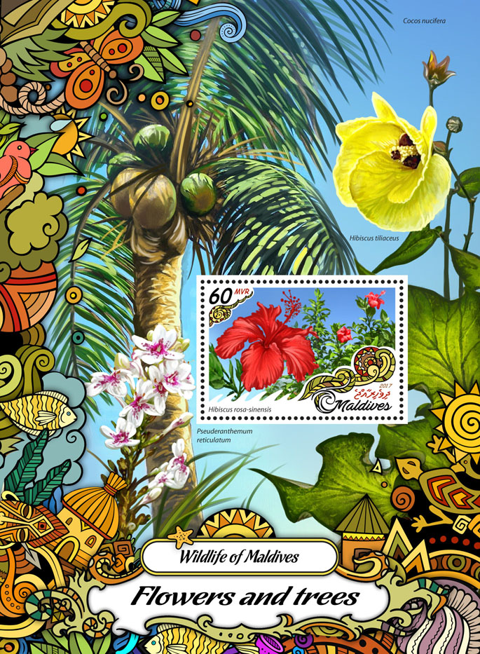 Flowers and trees - Issue of Maldives postage stamps