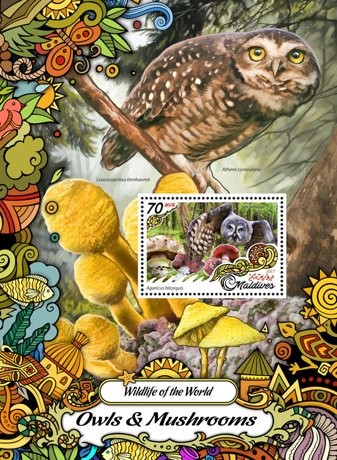 Owls & Mushrooms - Issue of Maldives postage stamps