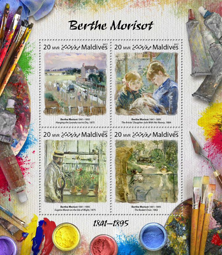 Berthe Morisot - Issue of Maldives postage stamps