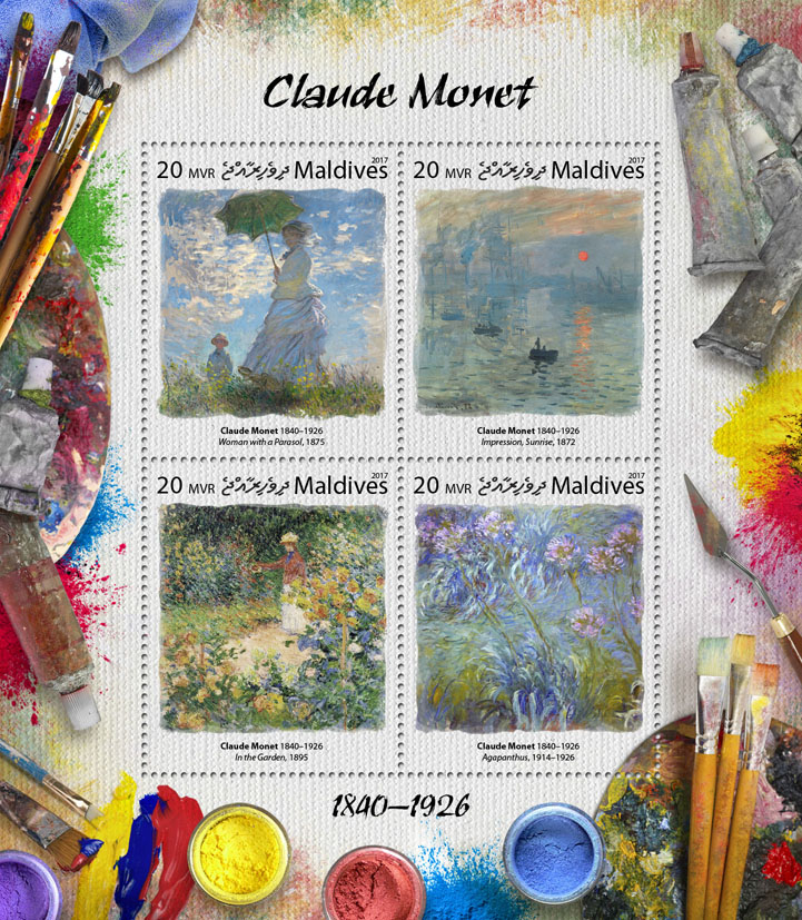 Claude Monet - Issue of Maldives postage stamps