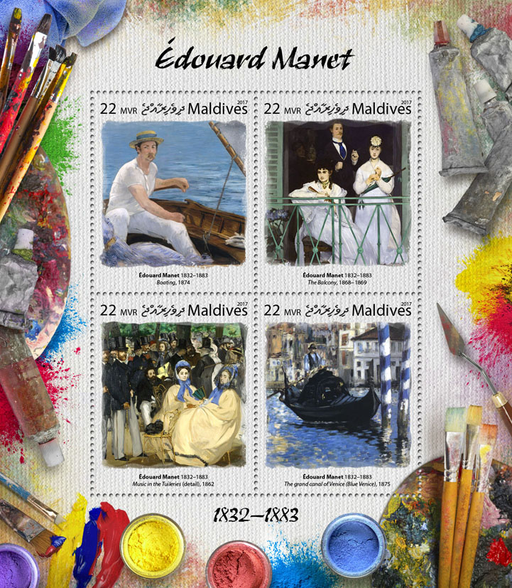 Edouard Manet - Issue of Maldives postage stamps