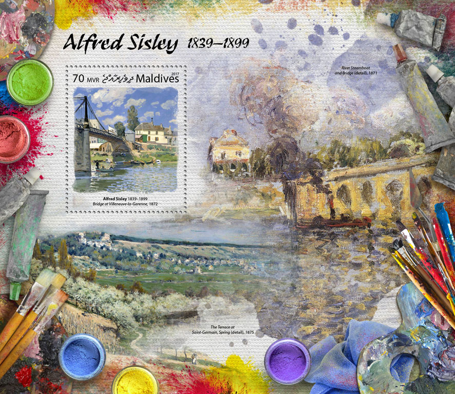 Alfred Sisley - Issue of Maldives postage stamps