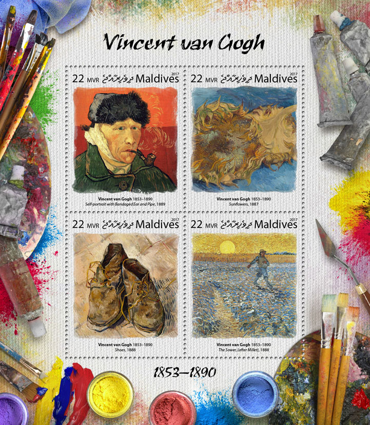 Vincent van Gogh - Issue of Maldives postage stamps