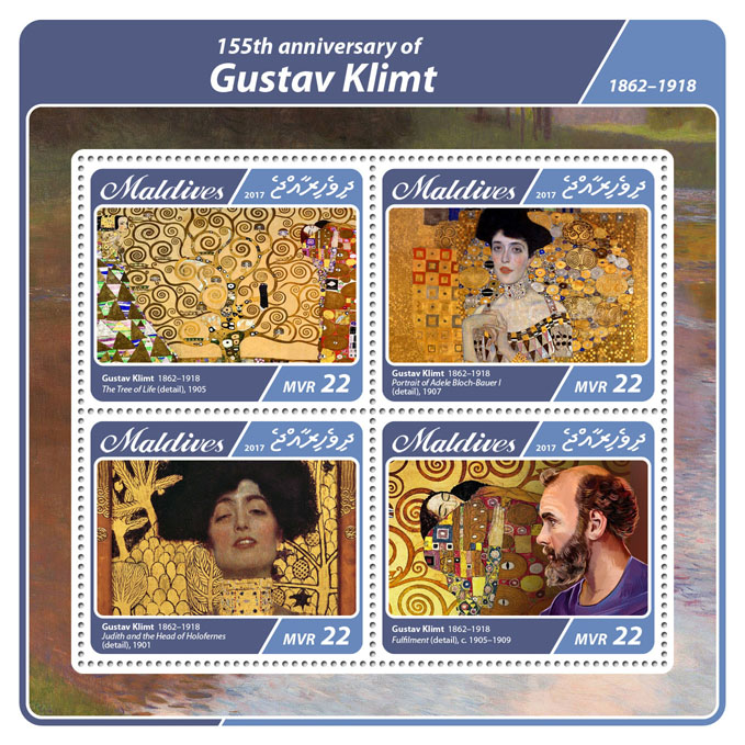 Gustav Klimt - Issue of Maldives postage stamps