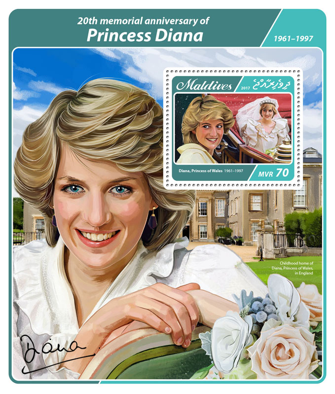 Princess Diana - Issue of Maldives postage stamps