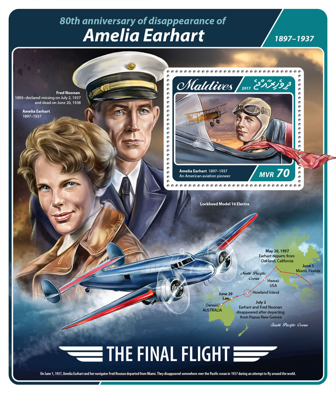 Amelia Earhart - Issue of Maldives postage stamps