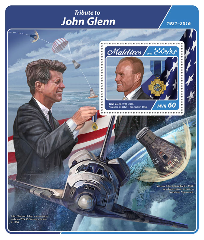 John Glenn - Issue of Maldives postage stamps