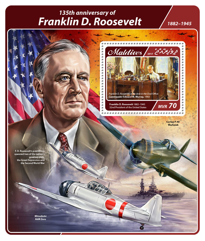 Franklin D. Roosevelt - Issue of Maldives postage stamps