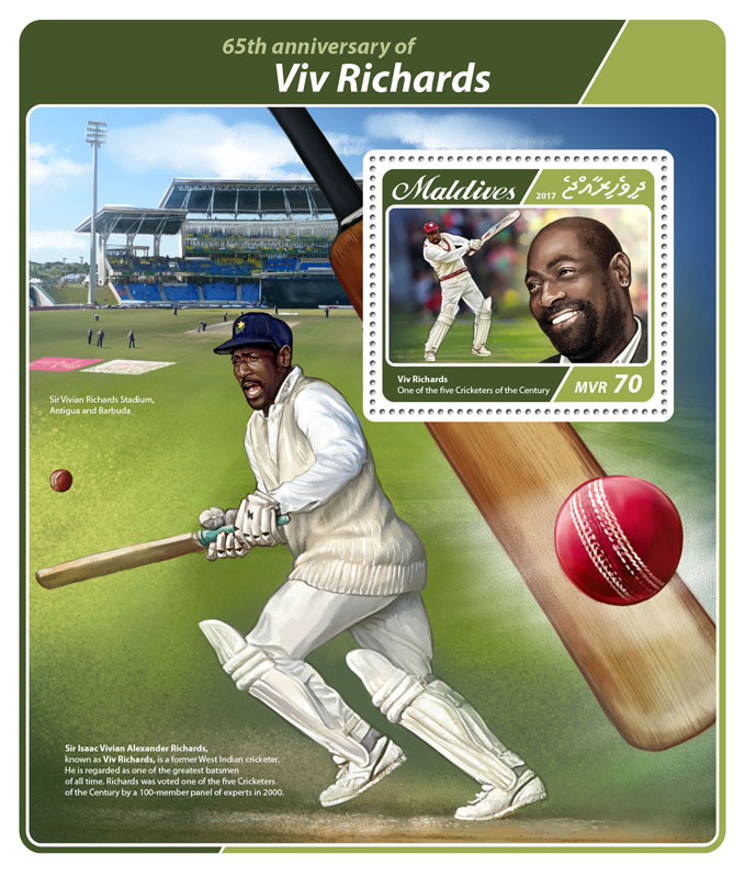 Viv Richards - Issue of Maldives postage stamps
