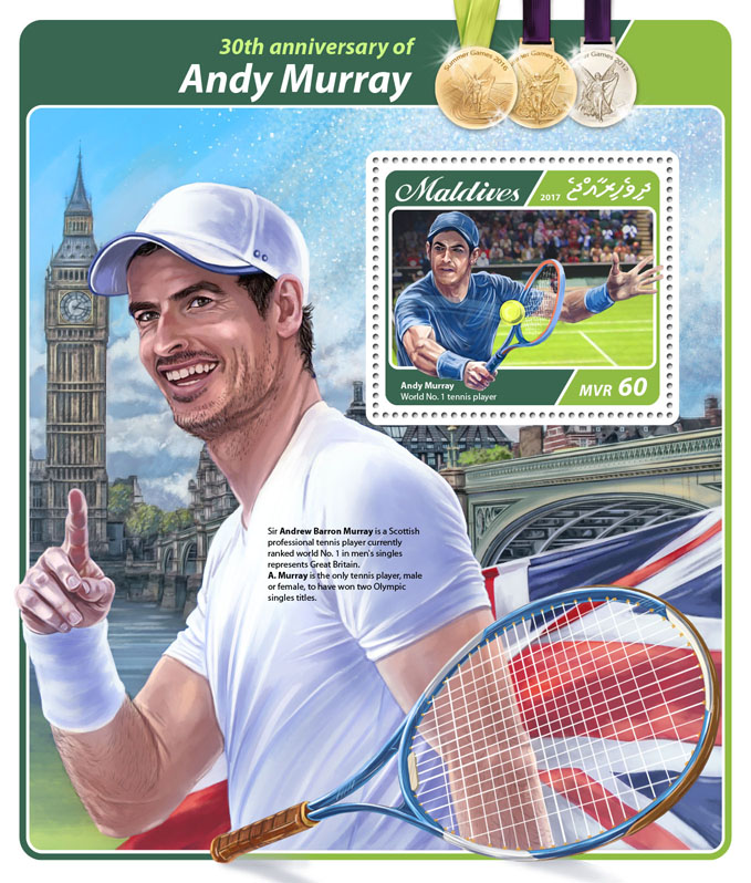 Andy Murray - Issue of Maldives postage stamps