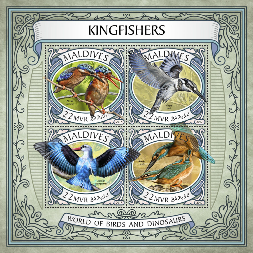 Kingfishers - Issue of Maldives postage stamps
