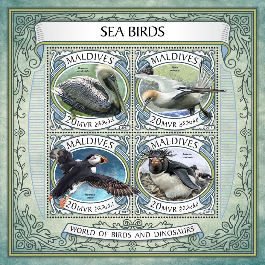 Sea birds - Issue of Maldives postage stamps