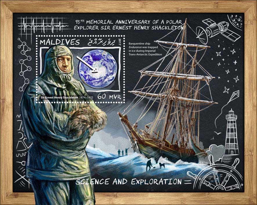 Sir Ernest Henry Shackleton - Issue of Maldives postage stamps