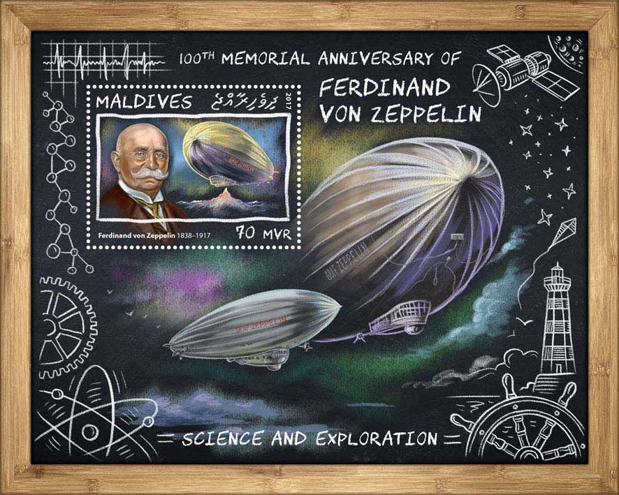 Ferdinand von Zeppelin - Issue of Maldives postage stamps