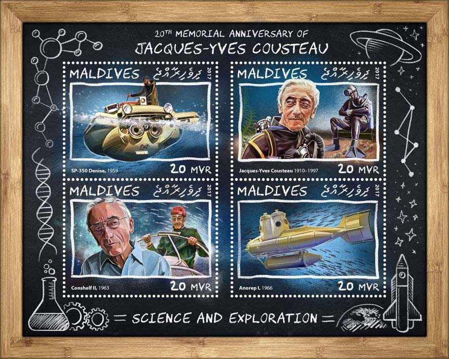Jacques-Yves Cousteau - Issue of Maldives postage stamps