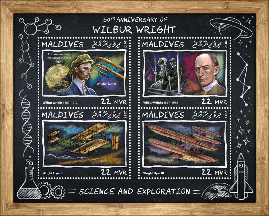 Wilbur Wright - Issue of Maldives postage stamps