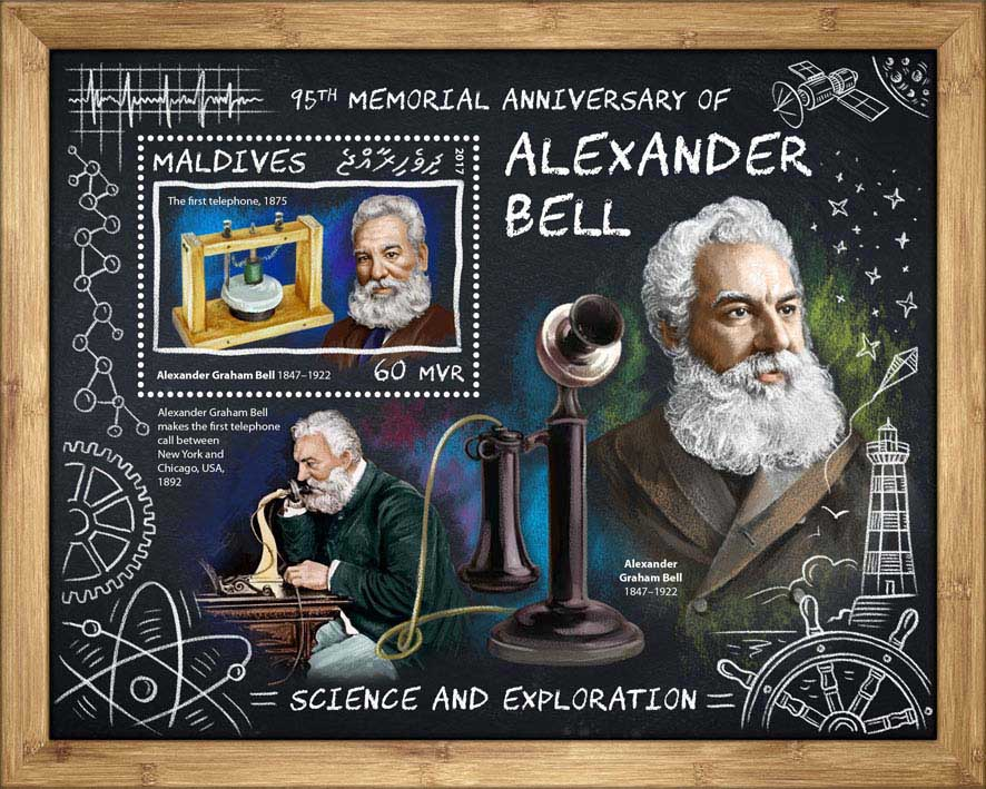 Alexander Bell - Issue of Maldives postage stamps