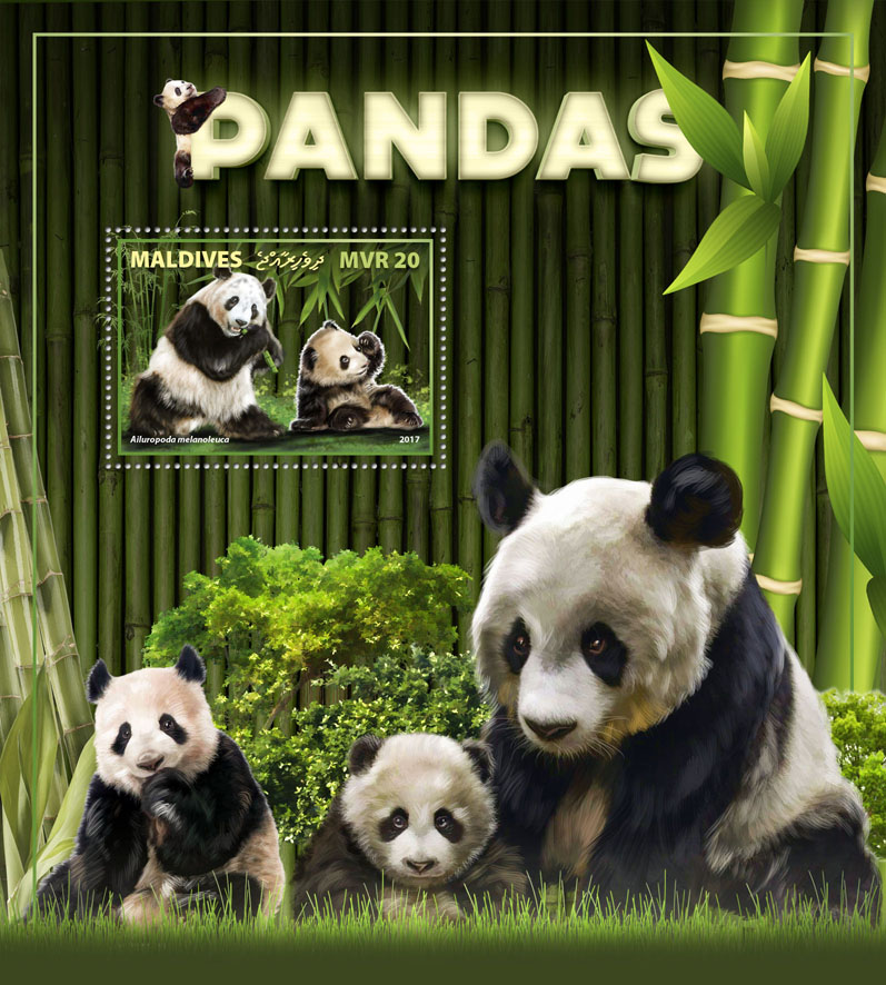 Pandas - Issue of Maldives postage stamps