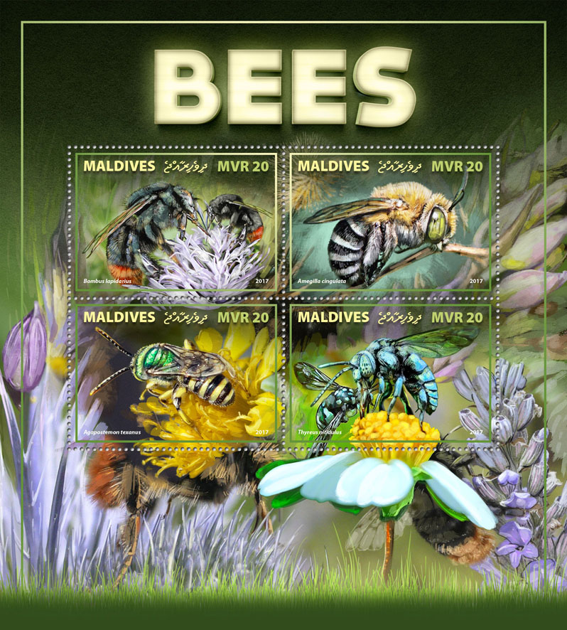 Bees - Issue of Maldives postage stamps