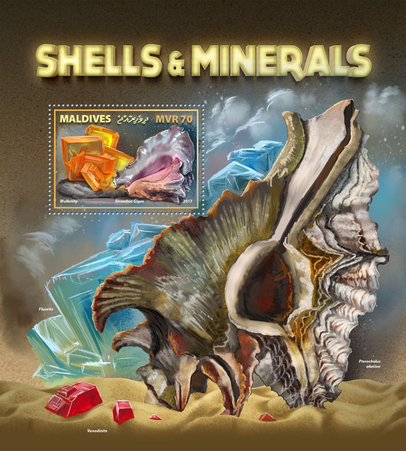 Shells & Minerals - Issue of Maldives postage stamps