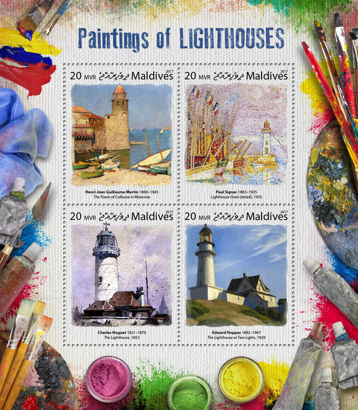 Paintings of lighthouses - Issue of Maldives postage stamps
