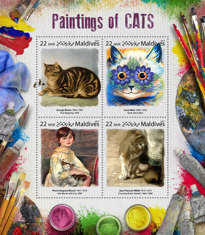 Paintings of cats - Issue of Maldives postage stamps