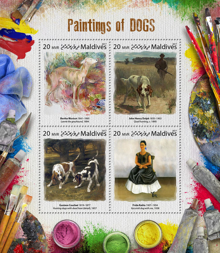 Paintings of dogs - Issue of Maldives postage stamps