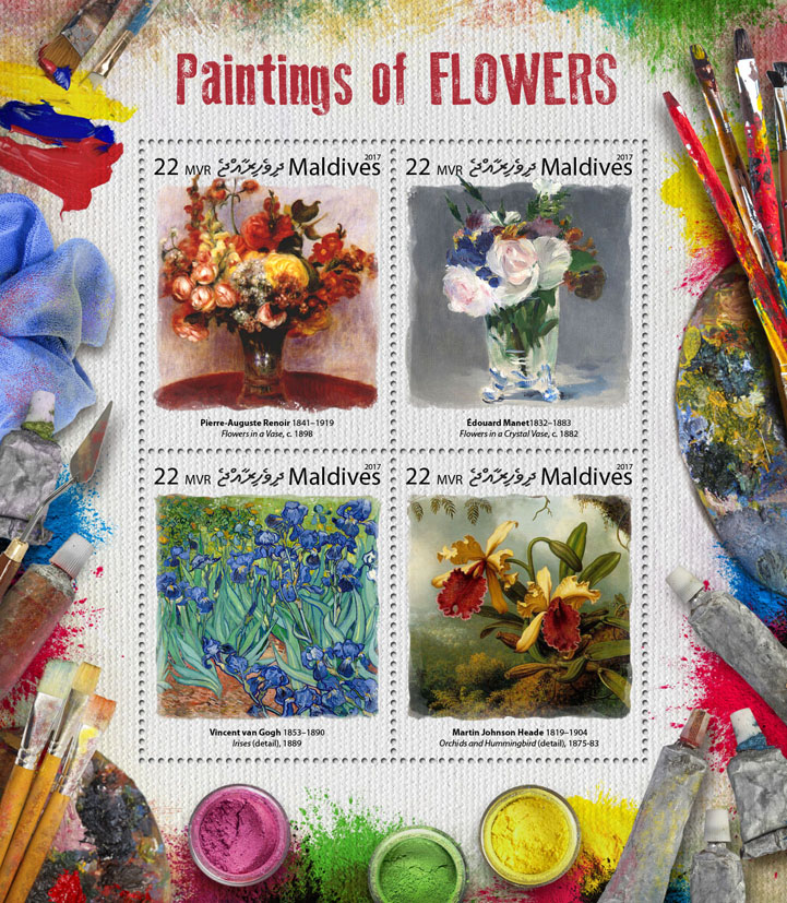 Paintings of flowers - Issue of Maldives postage stamps