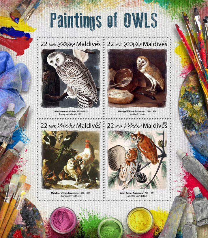 Paintings of owls - Issue of Maldives postage stamps