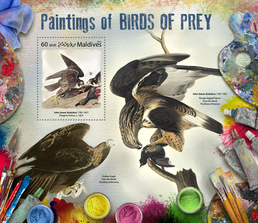 Paintings of birds of prey - Issue of Maldives postage stamps