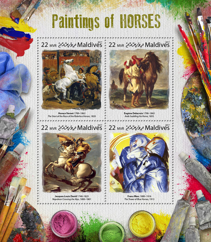 Paintings of horses - Issue of Maldives postage stamps