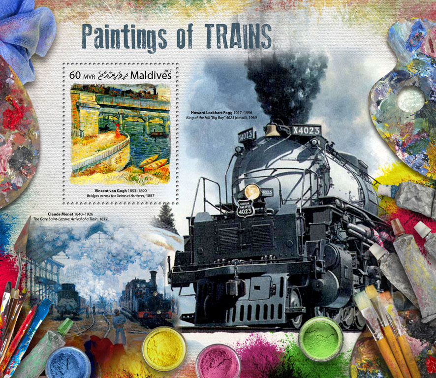 Paintings of trains - Issue of Maldives postage stamps