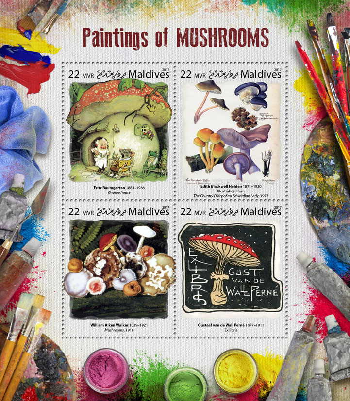 Paintings of mushrooms - Issue of Maldives postage stamps