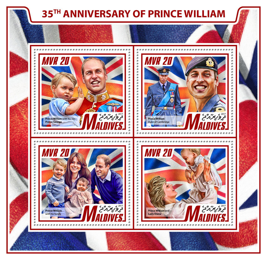 Prince William - Issue of Maldives postage stamps