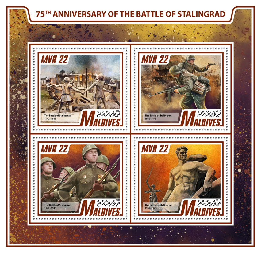 Battle of Stalingrad - Issue of Maldives postage stamps