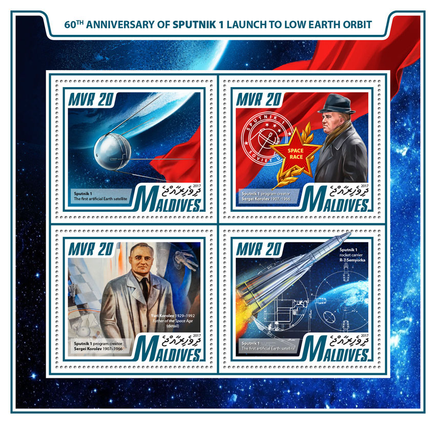 Sputnik 1 - Issue of Maldives postage stamps