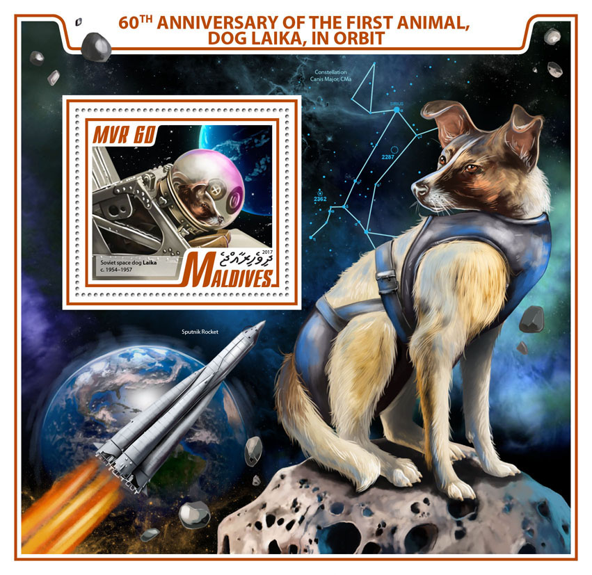 Laika in orbit - Issue of Maldives postage stamps