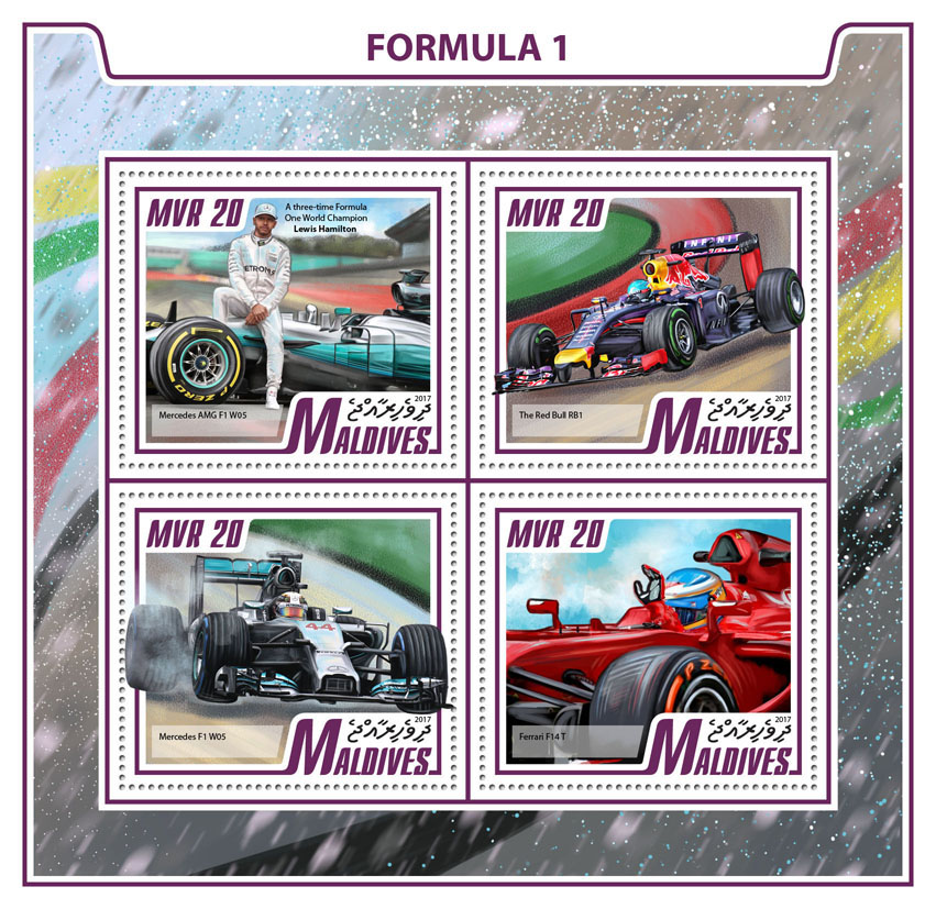Formula 1 - Issue of Maldives postage stamps